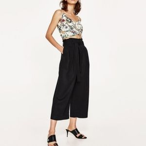 Zara pleated paper bag style culottes